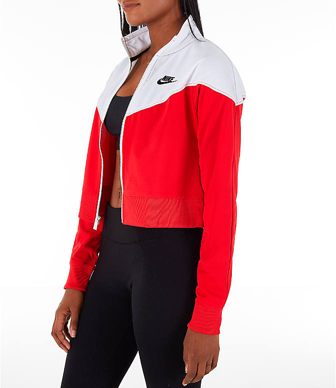 Front Three Quarter view of Women's Nike Sportswear Crop Heritage Track Jacket