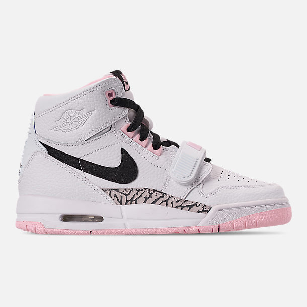 Right view of Girls' Big Kids' Air Jordan Legacy 312 Off-Court Shoes in White/Black/Pink Foam
