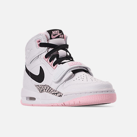 Three Quarter view of Girls' Big Kids' Air Jordan Legacy 312 Off-Court Shoes in White/Black/Pink Foam