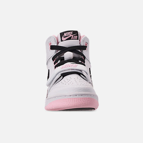 Front view of Girls' Big Kids' Air Jordan Legacy 312 Off-Court Shoes in White/Black/Pink Foam
