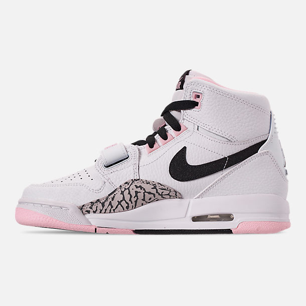 Left view of Girls' Big Kids' Air Jordan Legacy 312 Off-Court Shoes in White/Black/Pink Foam