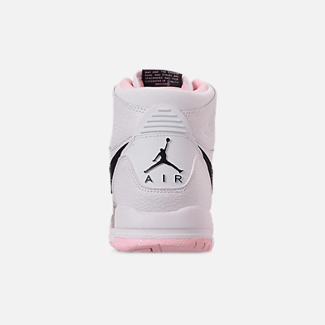 Back view of Girls' Big Kids' Air Jordan Legacy 312 Off-Court Shoes in White/Black/Pink Foam