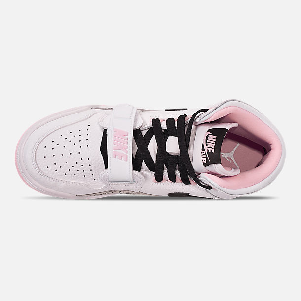 Top view of Girls' Big Kids' Air Jordan Legacy 312 Off-Court Shoes in White/Black/Pink Foam
