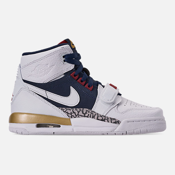 Right view of Boys' Big KIds' Air Jordan Legacy 312 Off-Court Shoes in White/White/Midnight Navy/Varsity Red