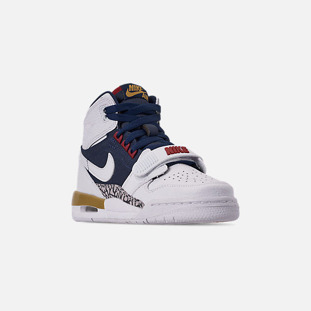 Three Quarter view of Boys' Big KIds' Air Jordan Legacy 312 Off-Court Shoes in White/White/Midnight Navy/Varsity Red