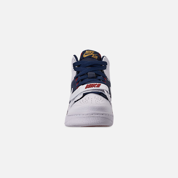 Front view of Boys' Big KIds' Air Jordan Legacy 312 Off-Court Shoes in White/White/Midnight Navy/Varsity Red
