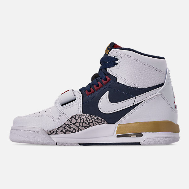Left view of Boys' Big KIds' Air Jordan Legacy 312 Off-Court Shoes in White/White/Midnight Navy/Varsity Red