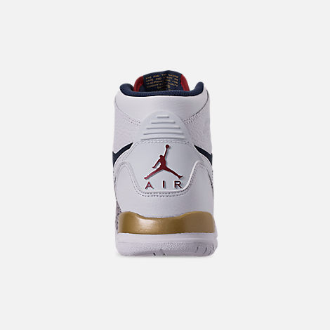 Back view of Boys' Big KIds' Air Jordan Legacy 312 Off-Court Shoes in White/White/Midnight Navy/Varsity Red
