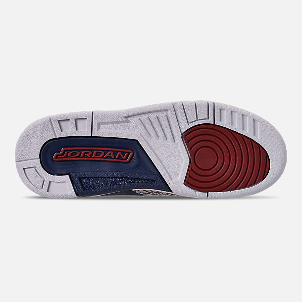 Bottom view of Boys' Big KIds' Air Jordan Legacy 312 Off-Court Shoes in White/White/Midnight Navy/Varsity Red