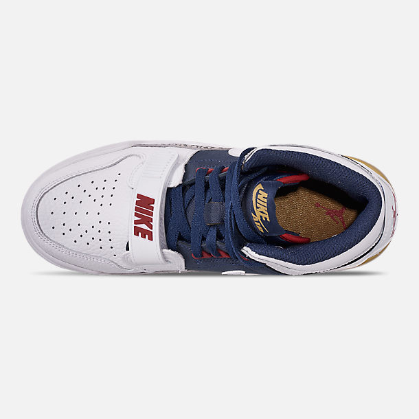 Top view of Boys' Big KIds' Air Jordan Legacy 312 Off-Court Shoes in White/White/Midnight Navy/Varsity Red