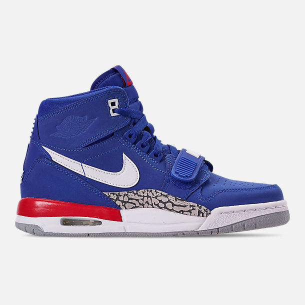 Right view of Boys' Big KIds' Air Jordan Legacy 312 Off-Court Shoes in Bright Blue/White/University Red