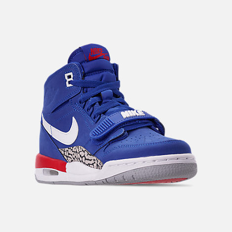 Three Quarter view of Boys' Big KIds' Air Jordan Legacy 312 Off-Court Shoes in Bright Blue/White/University Red