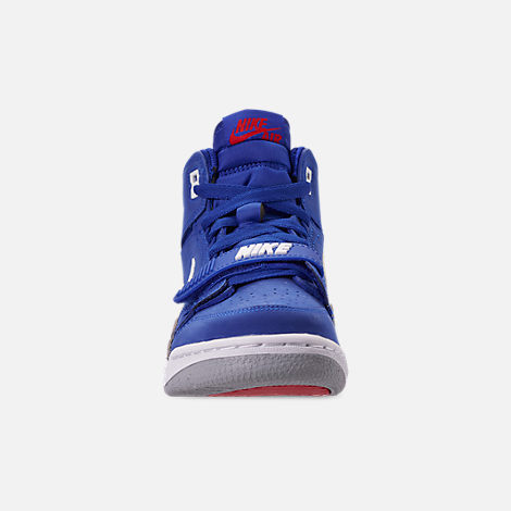 Front view of Boys' Big KIds' Air Jordan Legacy 312 Off-Court Shoes in Bright Blue/White/University Red