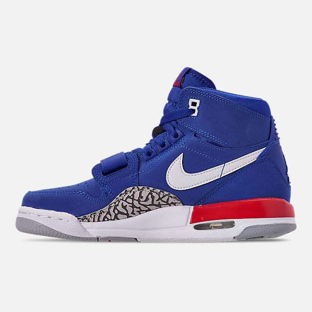 Left view of Boys' Big KIds' Air Jordan Legacy 312 Off-Court Shoes in Bright Blue/White/University Red