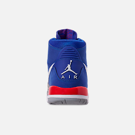 Back view of Boys' Big KIds' Air Jordan Legacy 312 Off-Court Shoes in Bright Blue/White/University Red
