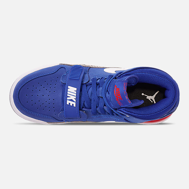 Top view of Boys' Big KIds' Air Jordan Legacy 312 Off-Court Shoes in Bright Blue/White/University Red
