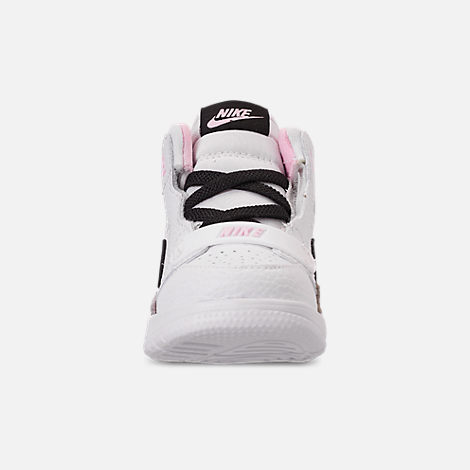 Front view of Girls' Toddler Air Jordan Legacy 312 Off-Court Shoes in White/Black/Pink Foam