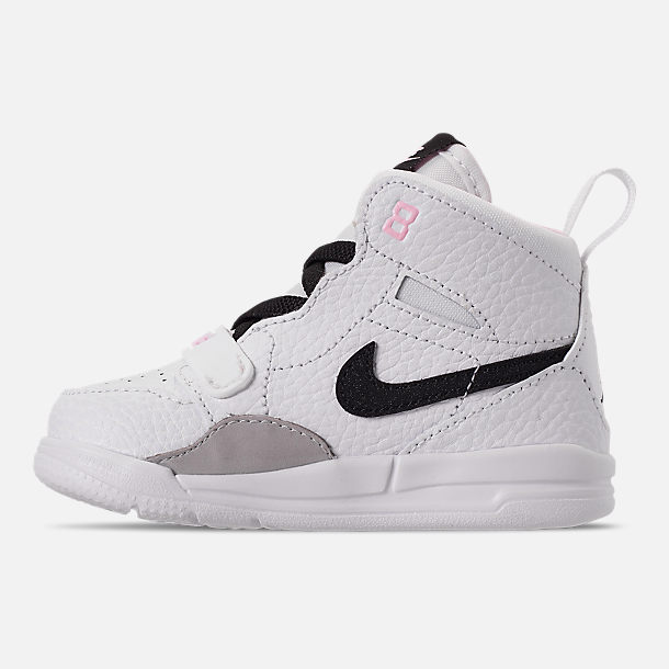 Left view of Girls' Toddler Air Jordan Legacy 312 Off-Court Shoes in White/Black/Pink Foam