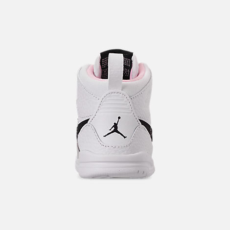 Back view of Girls' Toddler Air Jordan Legacy 312 Off-Court Shoes in White/Black/Pink Foam
