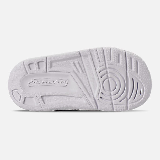 Bottom view of Girls' Toddler Air Jordan Legacy 312 Off-Court Shoes in White/Black/Pink Foam