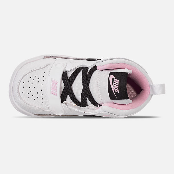 Top view of Girls' Toddler Air Jordan Legacy 312 Off-Court Shoes in White/Black/Pink Foam
