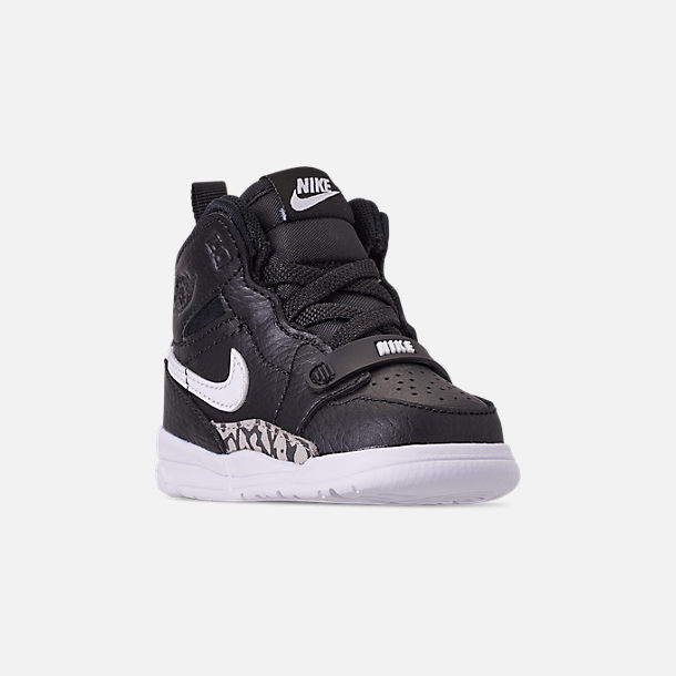 Three Quarter view of Boys' Toddler Air Jordan Legacy 312 Off-Court Shoes in Black/White