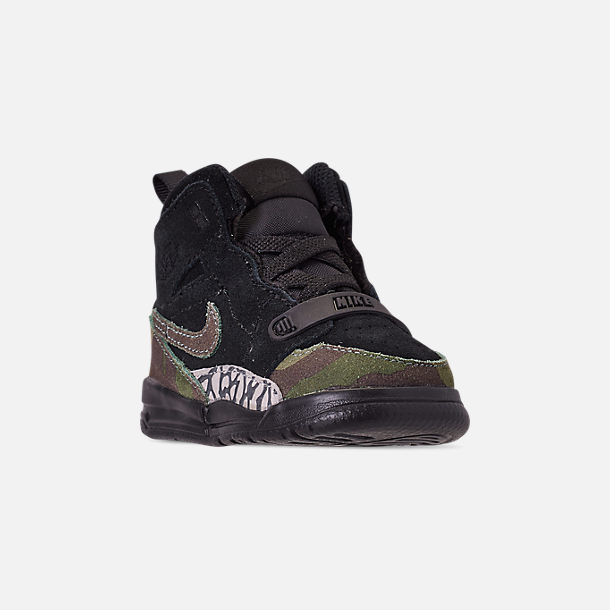 Three Quarter view of Boys' Toddler Air Jordan Legacy 312 Off-Court Shoes in Black/Camo Green/Volt