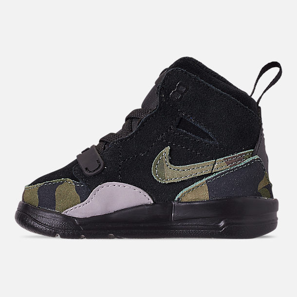 Left view of Boys' Toddler Air Jordan Legacy 312 Off-Court Shoes in Black/Camo Green/Volt