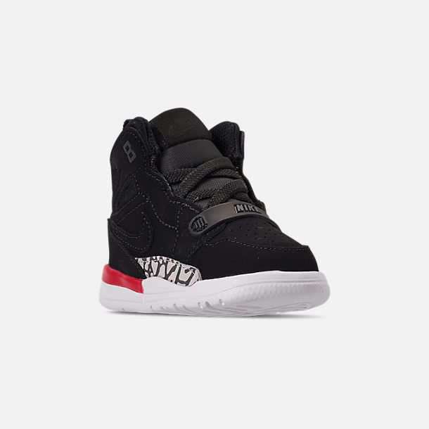 Three Quarter view of Boys' Toddler Air Jordan Legacy 312 Off-Court Shoes in Black/Black/Fire Red