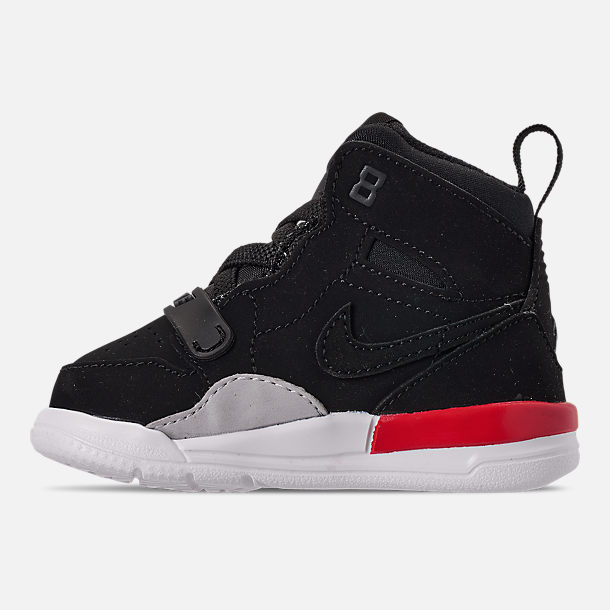 Left view of Boys' Toddler Air Jordan Legacy 312 Off-Court Shoes in Black/Black/Fire Red
