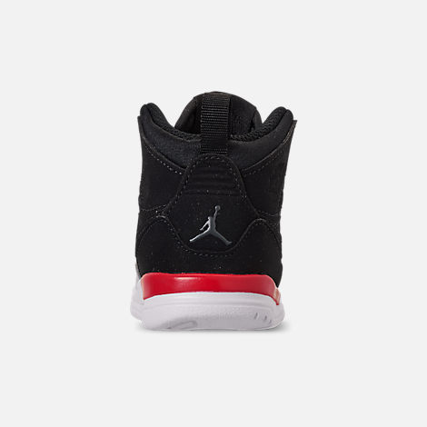 Back view of Boys' Toddler Air Jordan Legacy 312 Off-Court Shoes in Black/Black/Fire Red