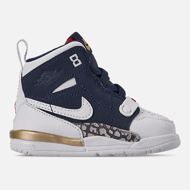Right view of Boys' Toddler Air Jordan Legacy 312 Off-Court Shoes in White/White/Mightnight Navy/Varsity Red