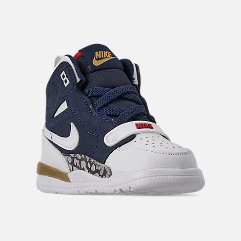 Three Quarter view of Boys' Toddler Air Jordan Legacy 312 Off-Court Shoes in White/White/Mightnight Navy/Varsity Red