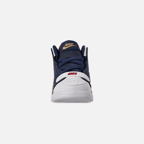 Front view of Boys' Toddler Air Jordan Legacy 312 Off-Court Shoes in White/White/Mightnight Navy/Varsity Red
