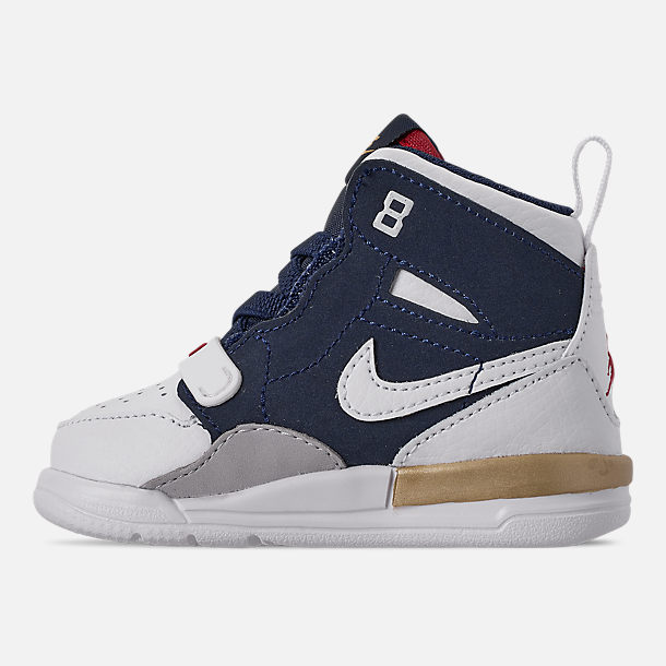 Left view of Boys' Toddler Air Jordan Legacy 312 Off-Court Shoes in White/White/Mightnight Navy/Varsity Red