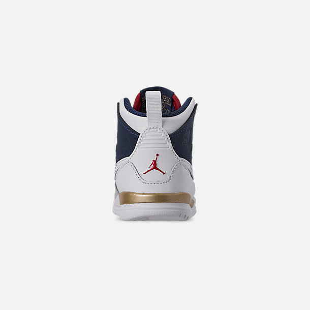 Back view of Boys' Toddler Air Jordan Legacy 312 Off-Court Shoes in White/White/Mightnight Navy/Varsity Red