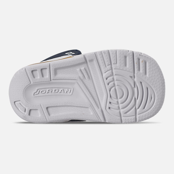 Bottom view of Boys' Toddler Air Jordan Legacy 312 Off-Court Shoes in White/White/Mightnight Navy/Varsity Red