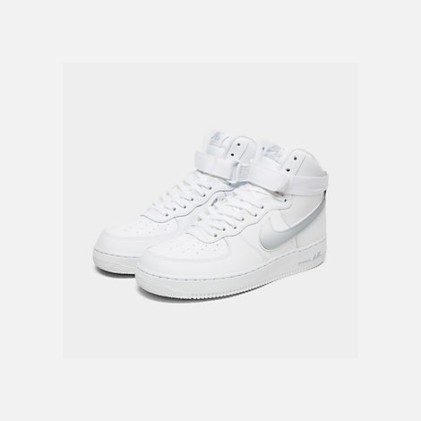 Three Quarter view of Men's Nike Air Force 1 High '07 3 Casual Shoes in White/Wolf Grey