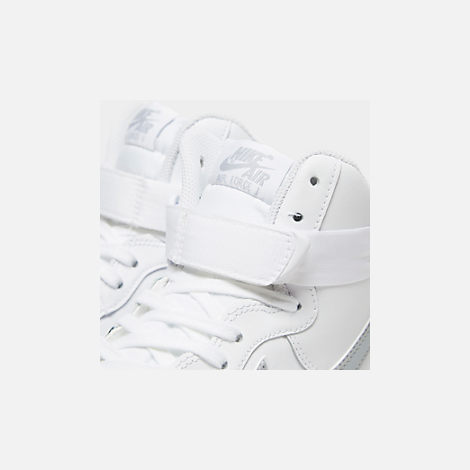 Front view of Men's Nike Air Force 1 High '07 3 Casual Shoes in White/Wolf Grey