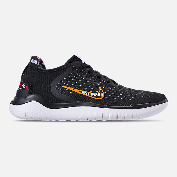 Right view of Mens Nike Free RN 2018 JDI Running Shoes in BlackTotal  Orange