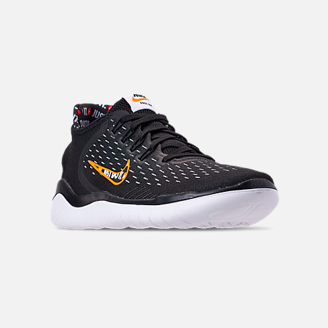 Three Quarter view of Men's Nike Free RN 2018 JDI Running Shoes in Black/Total Orange/White