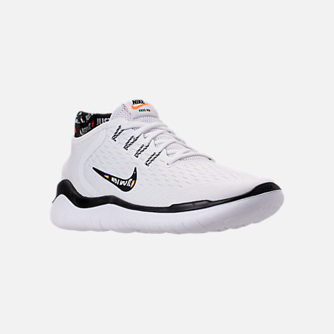 Three Quarter view of Women's Nike Free RN 2018 JDI Running Shoes in White/Black/Black/Total Orange