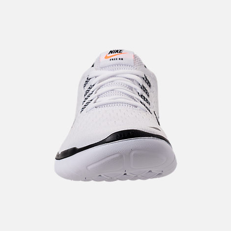 Front view of Women's Nike Free RN 2018 JDI Running Shoes in White/Black/Black/Total Orange