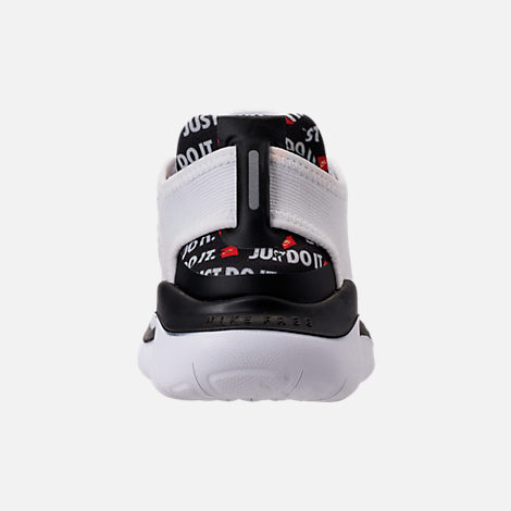 Back view of Women's Nike Free RN 2018 JDI Running Shoes in White/Black/Black/Total Orange