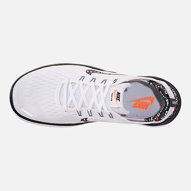 Top view of Women's Nike Free RN 2018 JDI Running Shoes in White/Black/Black/Total Orange