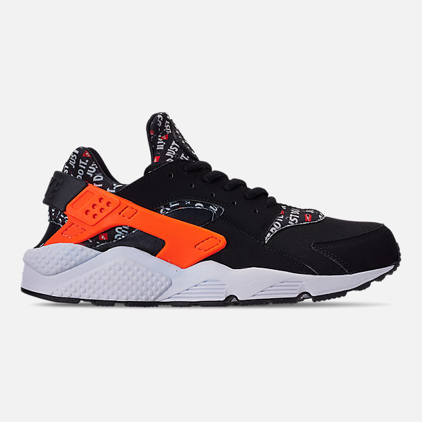 Right view of Men's Nike Air Huarache Run JDI Running Shoes in Black/Total Orange