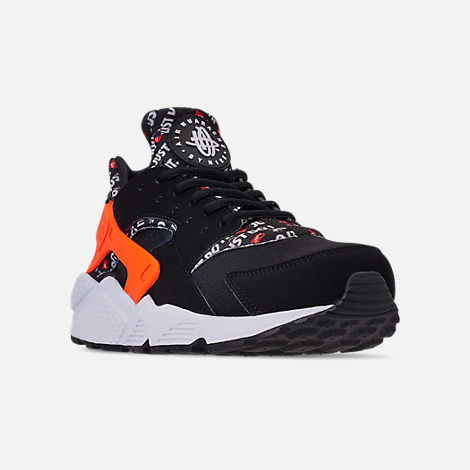 Three Quarter view of Men's Nike Air Huarache Run JDI Running Shoes in Black/Total Orange/White/Cool Grey