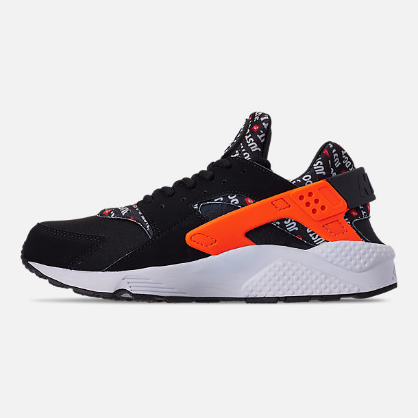 Left view of Men's Nike Air Huarache Run JDI Running Shoes in Black/Total Orange/White/Cool Grey
