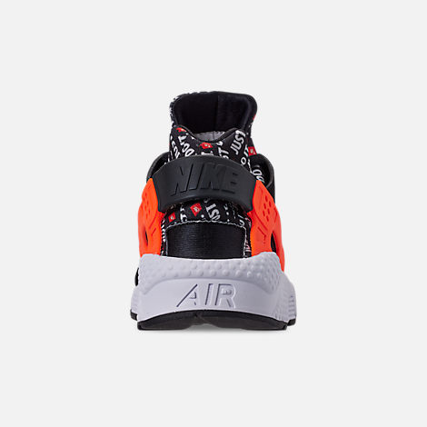 Back view of Men's Nike Air Huarache Run JDI Running Shoes in Black/Total Orange/White/Cool Grey