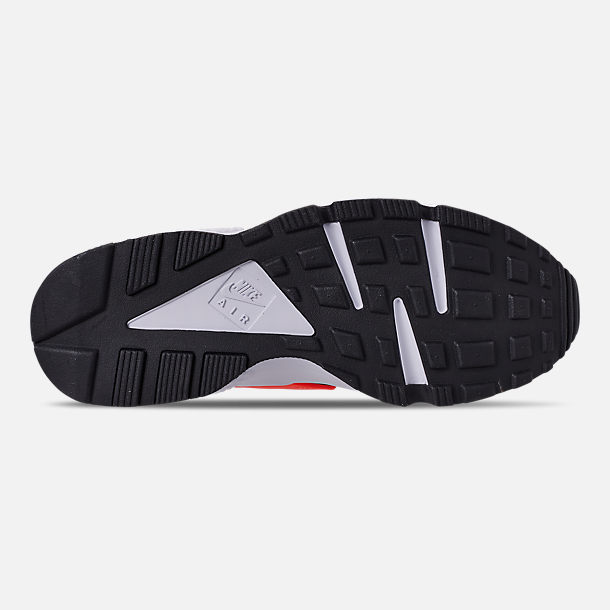 Bottom view of Men's Nike Air Huarache Run JDI Running Shoes in Black/Total Orange/White/Cool Grey